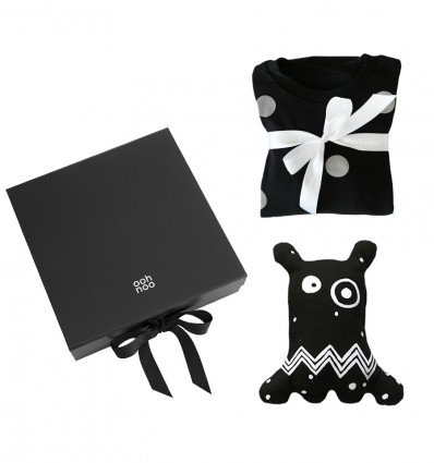 Pyjama and a Black Monster in a Gift Box